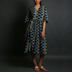Indigo Coloured Ajrakh Hand Block Printed Wrap up Dress