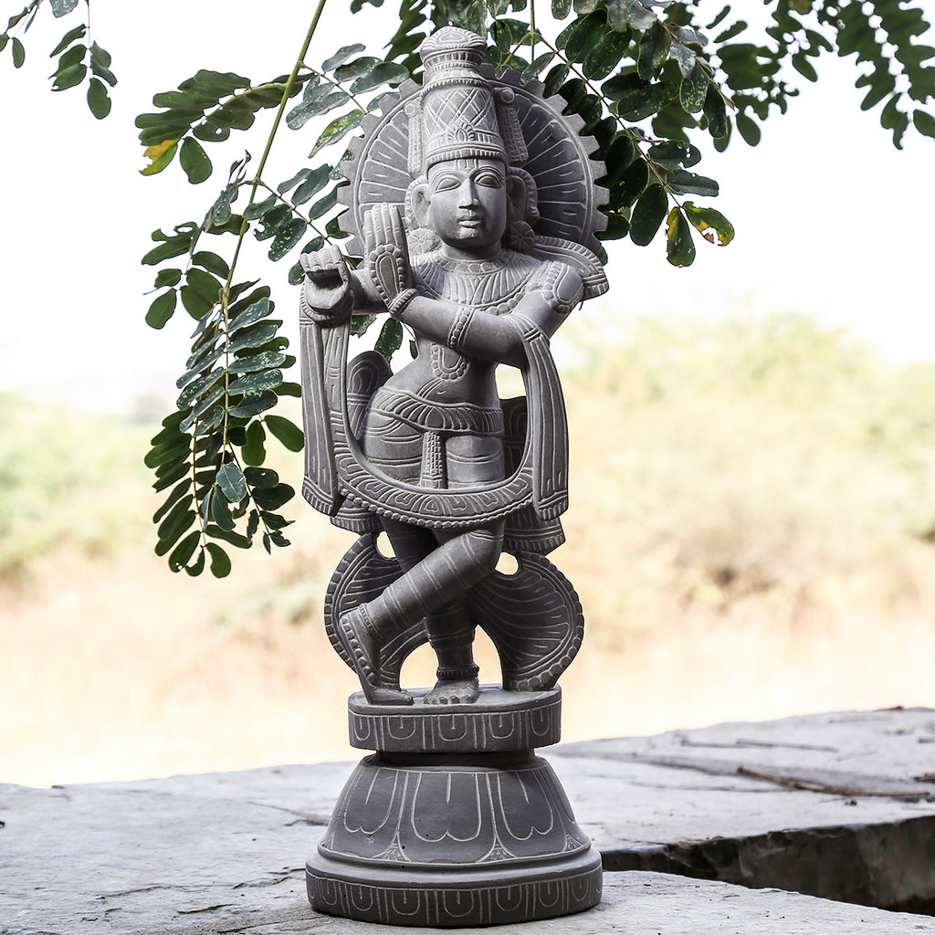 Lord Krishna - Hand Carved Stone Idol from Durgi