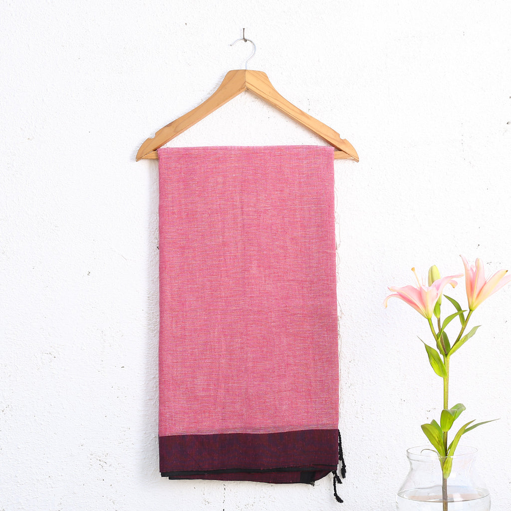 Phulia Handloom Saree with Blouse in Cotton Linen 1