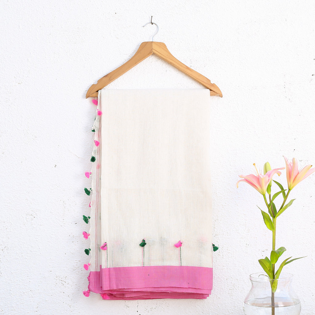 Phulia Handloom Saree with Blouse in Cotton Linen 4