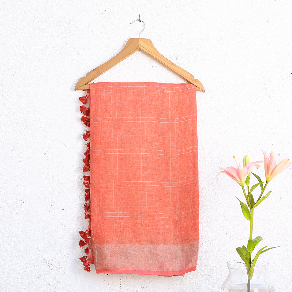 Phulia Handloom Saree with Blouse in Linen