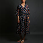 Indigo Red Coloured Ajrakh Hand Block Printed Wrap up Dress