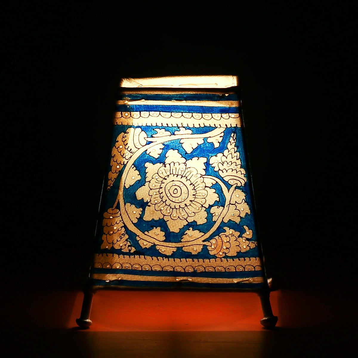 Andhra Pradesh Leather Lamp with Blue Coloured Floral Design