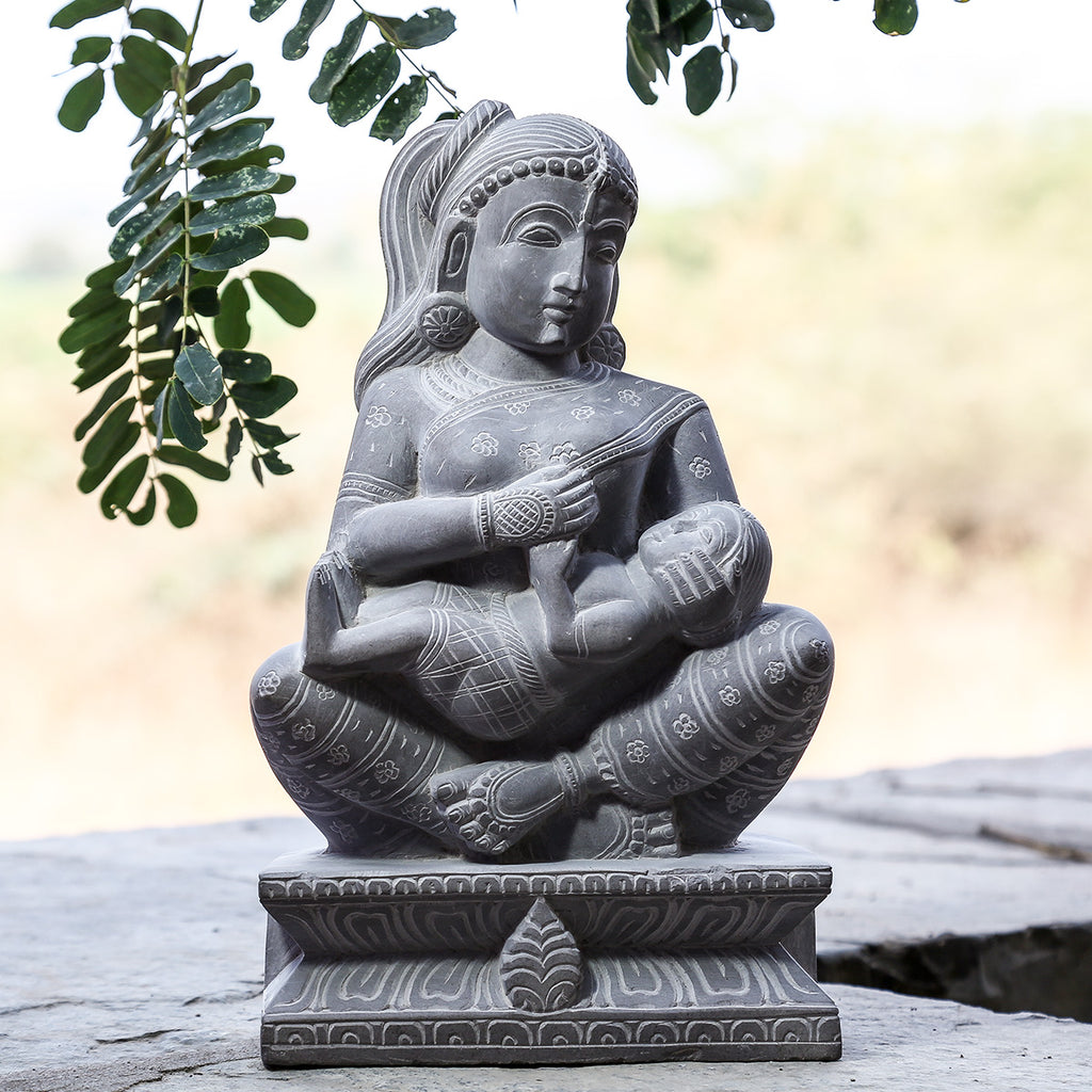 Mother with her Child - Hand Carved Stone Idol from Durgi