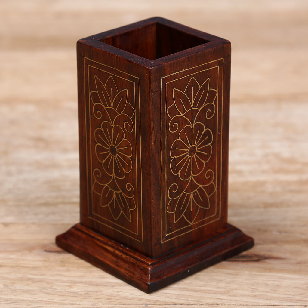 Pen Stand with Brass Metal Inlay Work