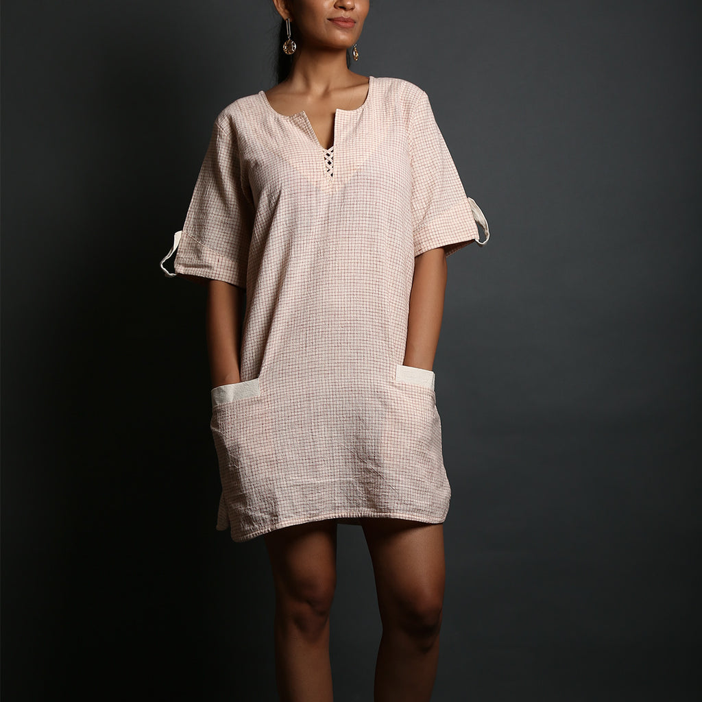 Off White Coloured with Red Checks Organic Cotton Shift Dress