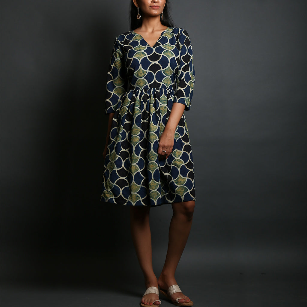 Indigo Green Coloured Big Scales Ajrakh Hand Block Printed Gathered Dress