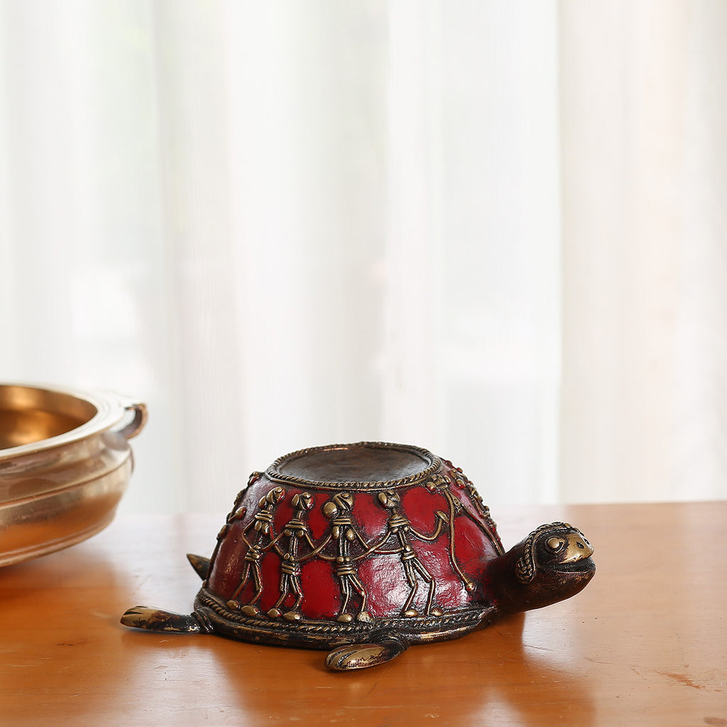 Red coloured Brass Candle Stand in Dokra Art from Bastar in tortoise shape