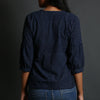 Indigo Coloured Ajrakh Hand Block Printed Top with Gathers