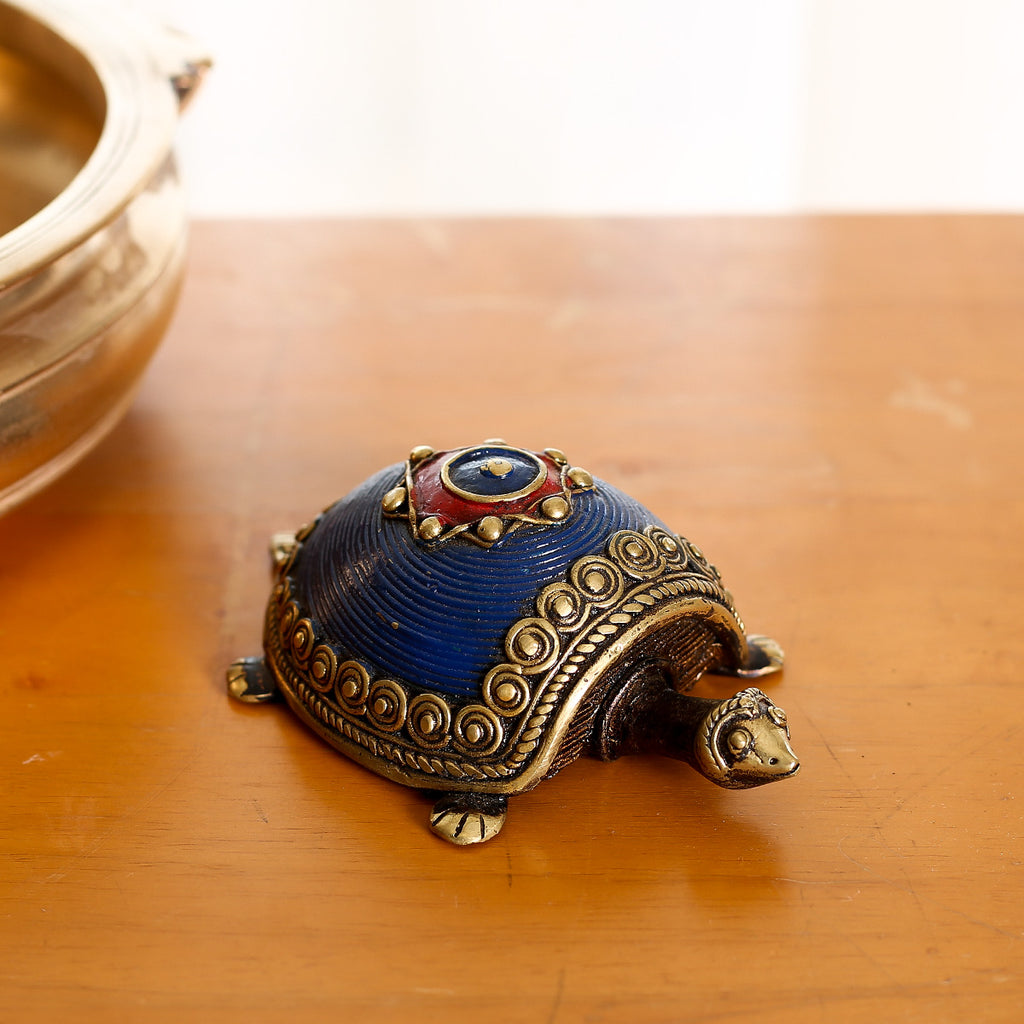 Blue coloured Brass Paper Weight in Dokra Art from Bastar with Coin Tortoise Design