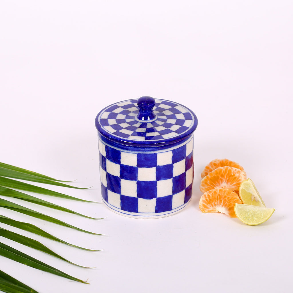 Blue Cotton Box of Jaipur Blue Pottery with square design