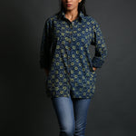Indigo Coloured Ajrakh Hand Block Printed Boyfriend Shirt