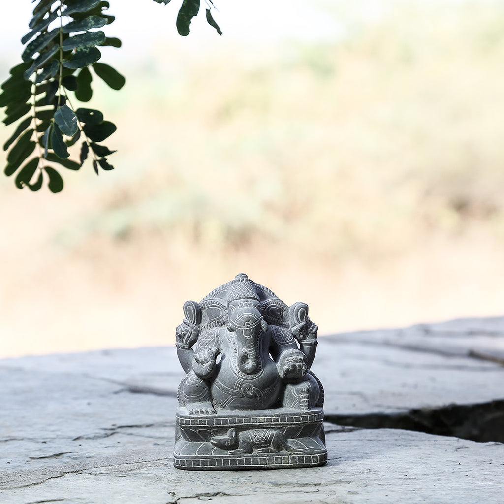 Lord Ganesha - Hand Carved Stone Idol from Durgi