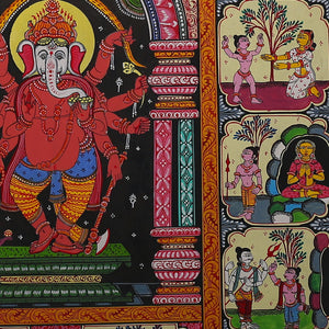 Pattachitra Painting of 'Lord Ganesh Life story' by Narayan Das
