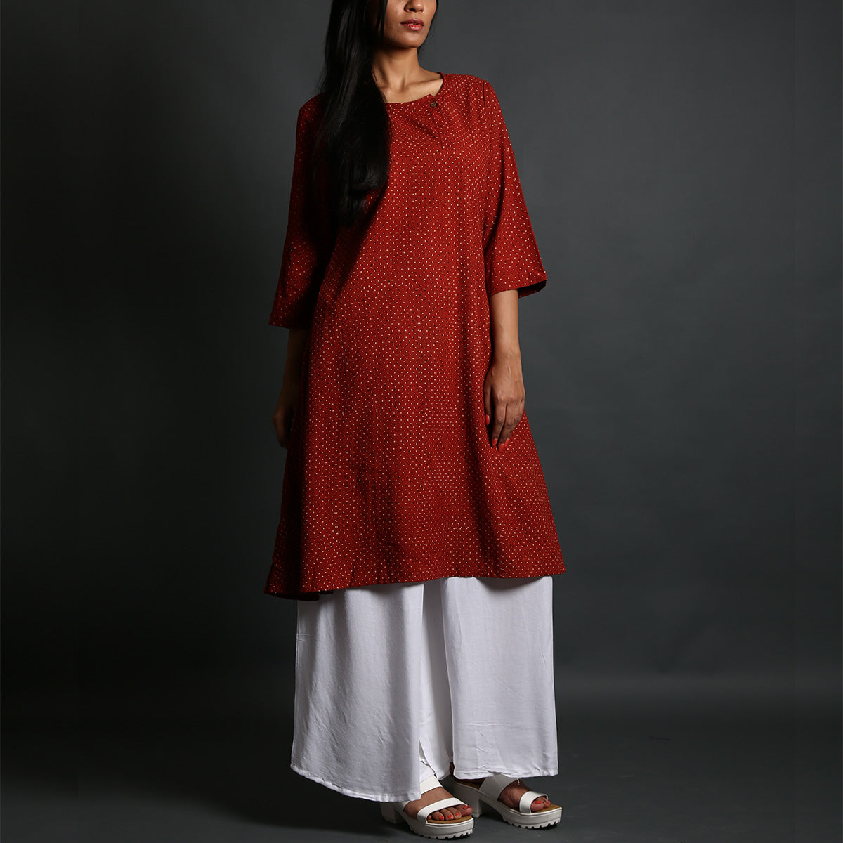 Red Coloured Ajrakh Hand Block Printed A Line Kurta