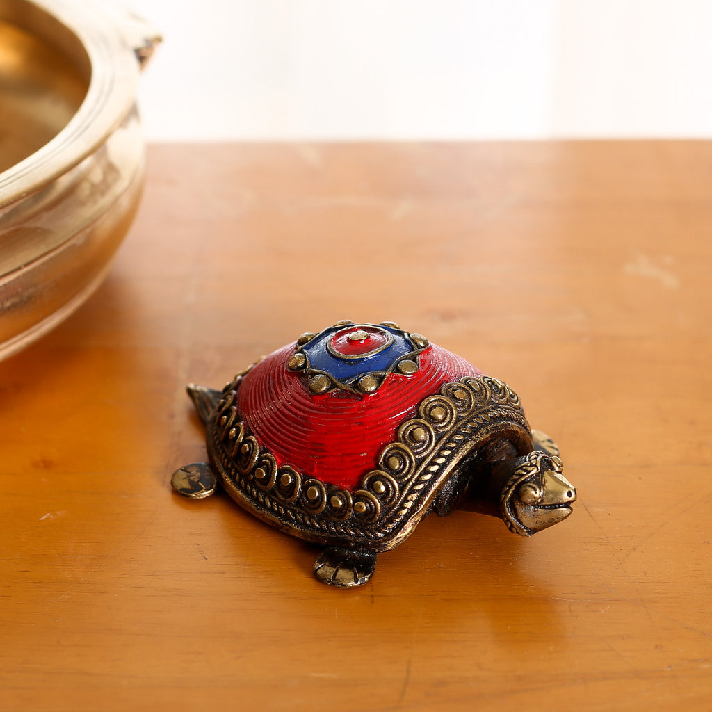 Red coloured Brass Paper Weight in Dokra Art from Bastar with Coin Tortoise Design