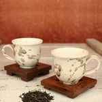 Abstract Off White with Brown Handmade Ceramic Cups from Pondicherry - Set of 2