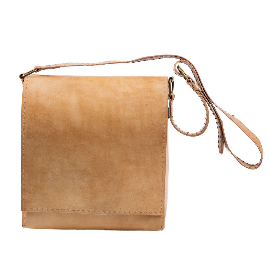 Natural Camel Coloured Jawaja Unisex Shoulder Bag in Pure Leather with Strap