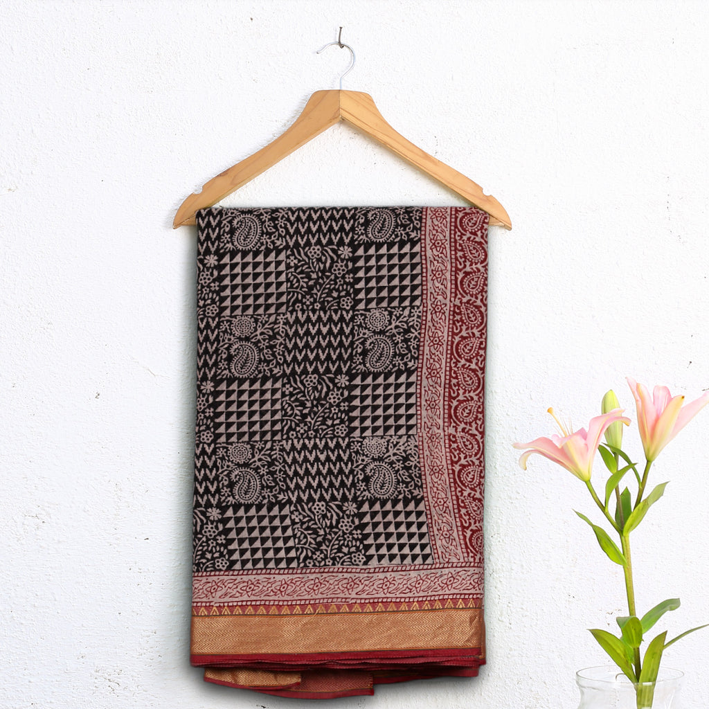 Bagh Hand Block Printed Naturally Dyed Golden Border Cotton Saree with Blouse 8