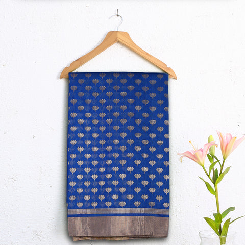 Chanderi Handloom Saree with Blouse in Silk Cotton 10