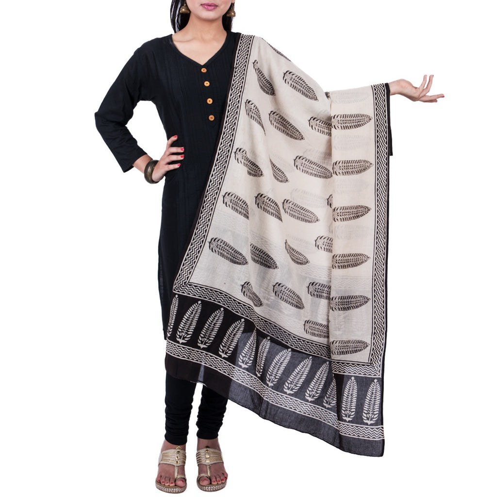 Natural Dyed Hand Block Printed Bagru Dupatta in Cotton