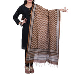 Natural Dyed Hand Block Printed Bagru Dupatta in Chanderi Cotton Silk