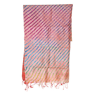 Peach Coloured Jaipur Leheriya Dupatta in Tassar Silk