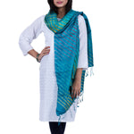 Blue Coloured Jaipur Leheriya Dupatta in Tassar Silk