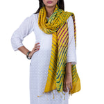 Yellow Coloured Jaipur Leheriya Dupatta in Tassar Silk