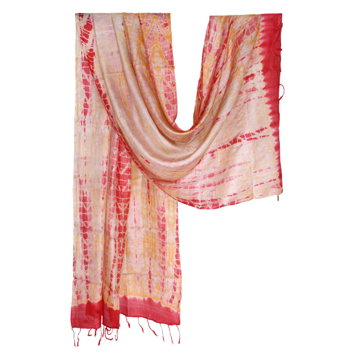 Cream Orange Coloured Jaipur Tie & Dye Dupatta in Tassar Silk