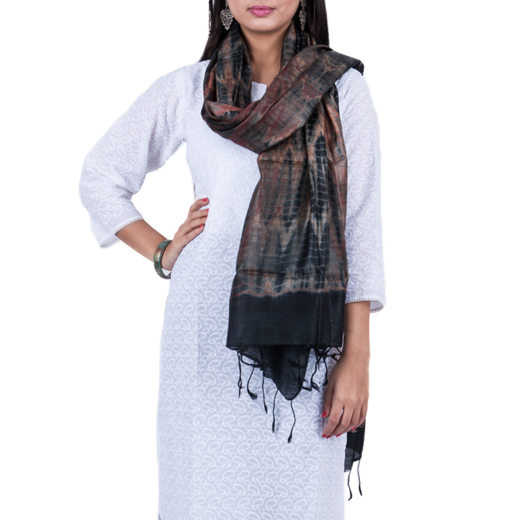 Black Coloured Jaipur Tie & Dye Dupatta in Tassar Silk