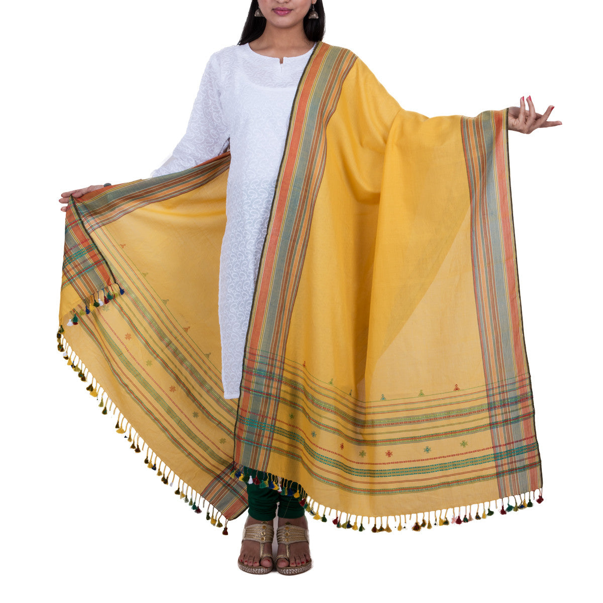 Yellow coloured Kutch Handloom Dupatta in cotton 1