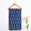Dabu Hand Block Printed Indigo Cotton Saree with Blouse 12