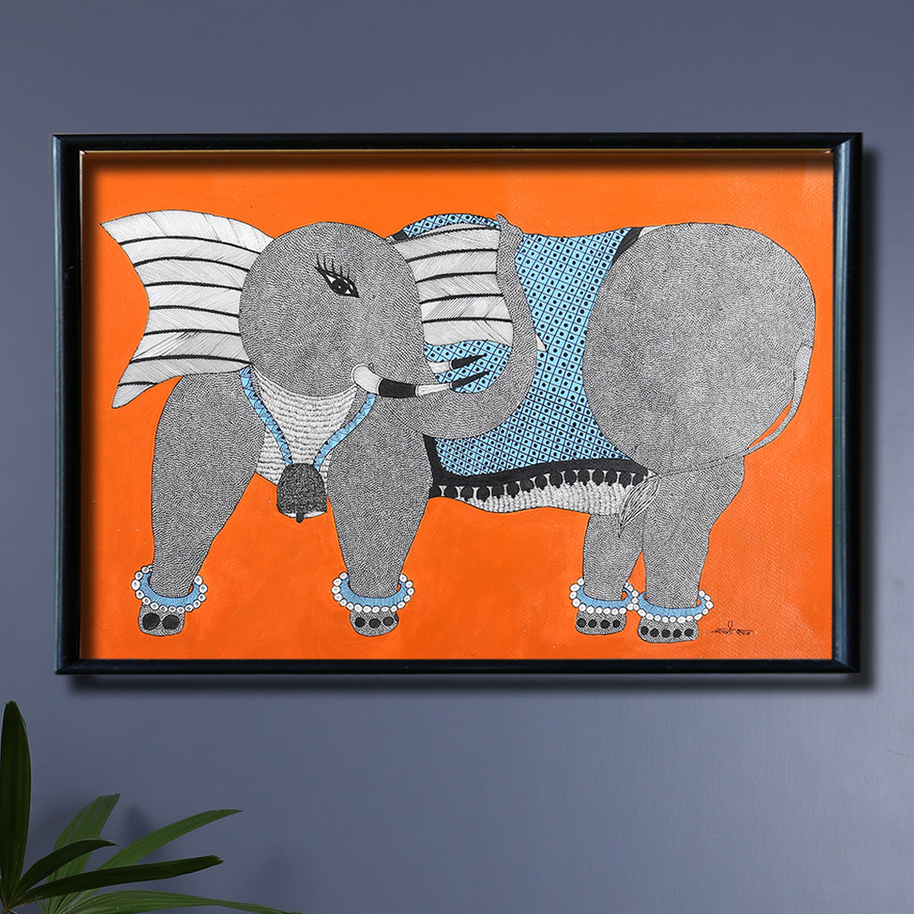 Elephant Gond Painting by Japani Shyam