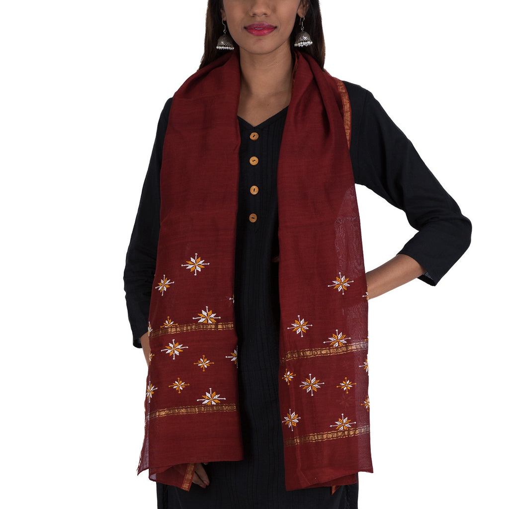 Brown Coloured Suf Embroidered Stole in Chanderi Silk