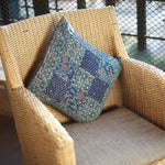 Indigo Coloured Ajrakh Patchwork Hand Block Printed Cushion Cover with Square Design