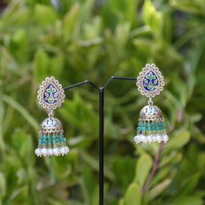 Silver Coloured Silver Meenakari Earrings
