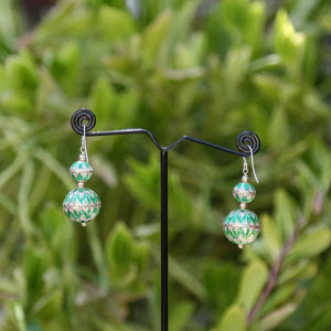 Double Drop Danglers Green Coloured Silver Meenakari Earrings