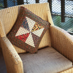 Multi Coloured Ajrakh Patchwork Hand Block Printed Cushion Cover with Fan Design