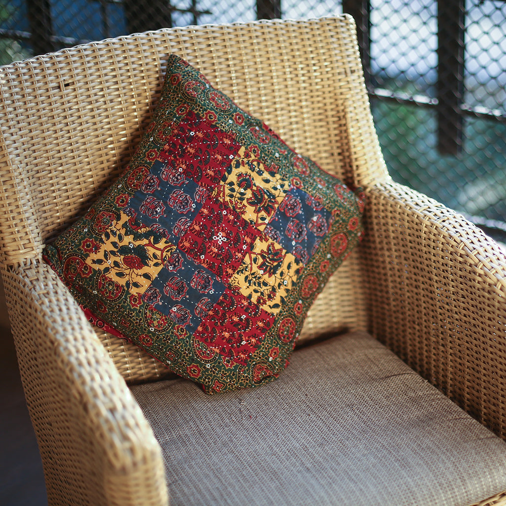 Multi Coloured Ajrakh Patchwork Hand Block Printed Cushion Cover with Green Border