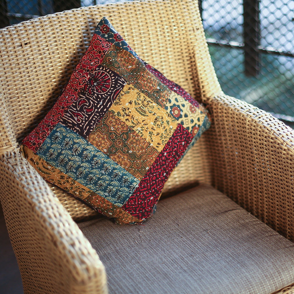 Multi Coloured Ajrakh Patchwork Hand Block Printed Cushion Cover with Rectangle Design