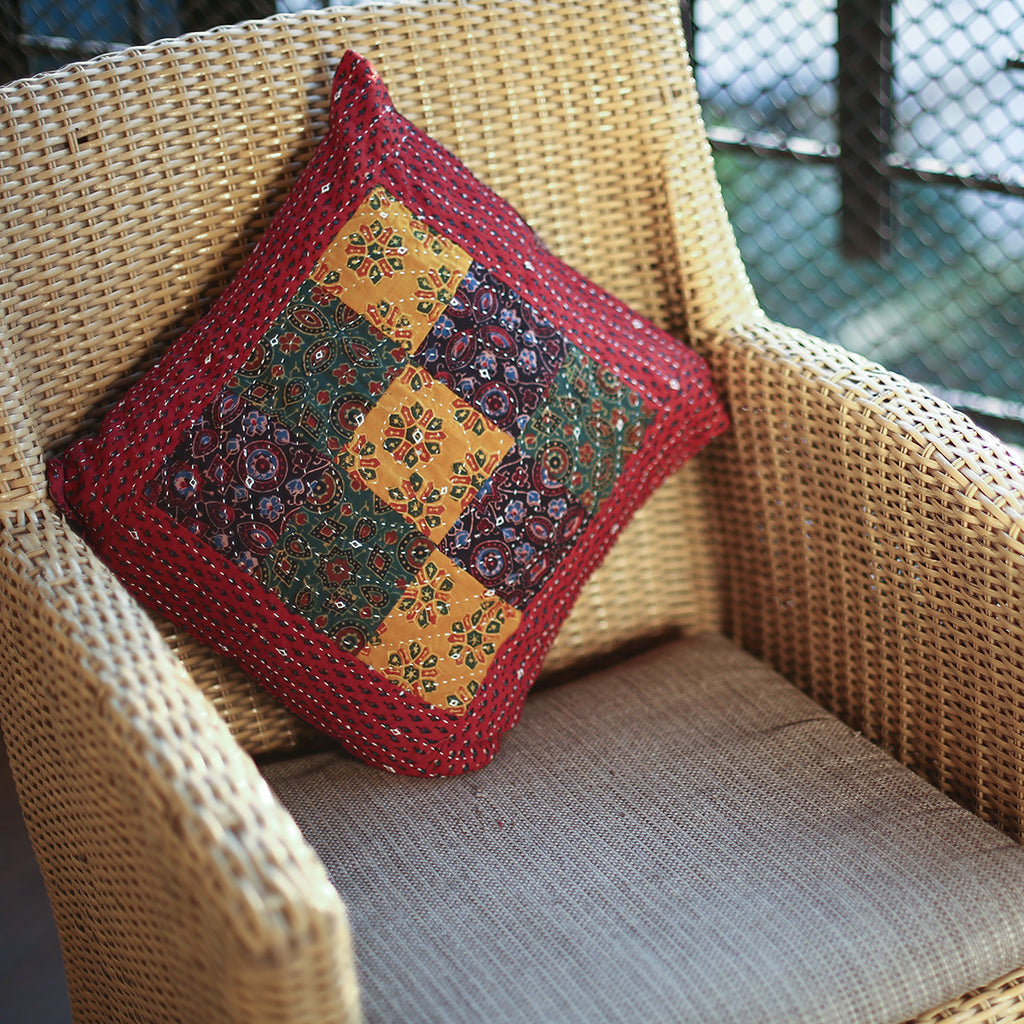 Multi Coloured Ajrakh Patchwork Hand Block Printed Cushion Cover with Red Border