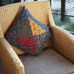 Multi Coloured Ajrakh Patchwork Hand Block Printed Cushion Cover with Triangle Design