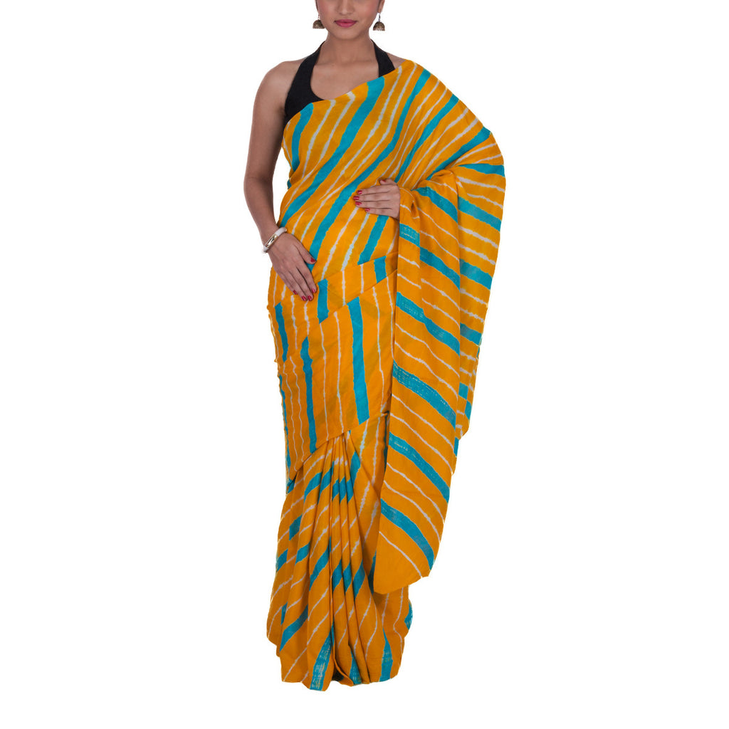 Jaipur Leheriya Tie and Dye Saree in Mulberry Silk 1