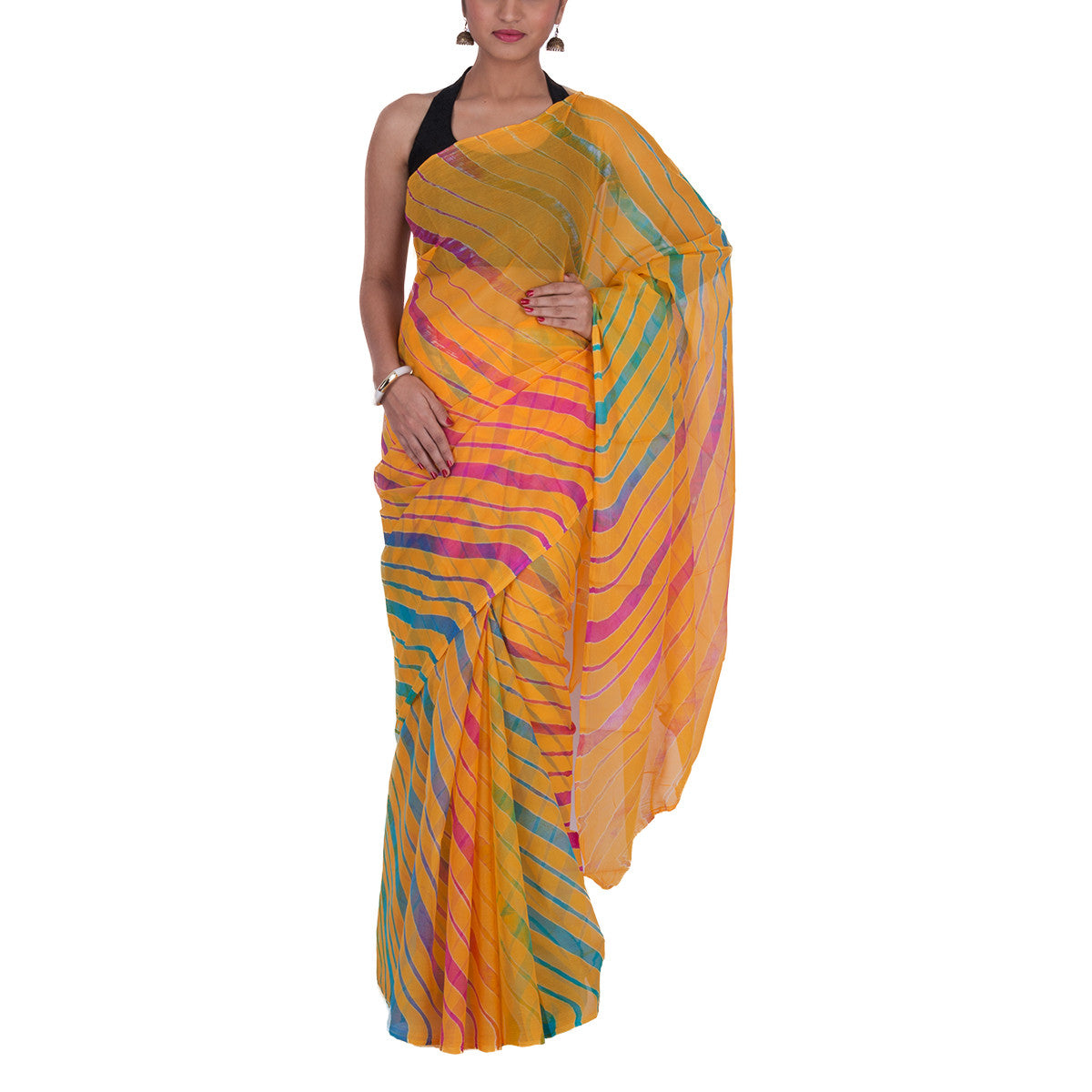 Jaipur Leheriya Tie and Dye Saree in Chiffon Silk 3
