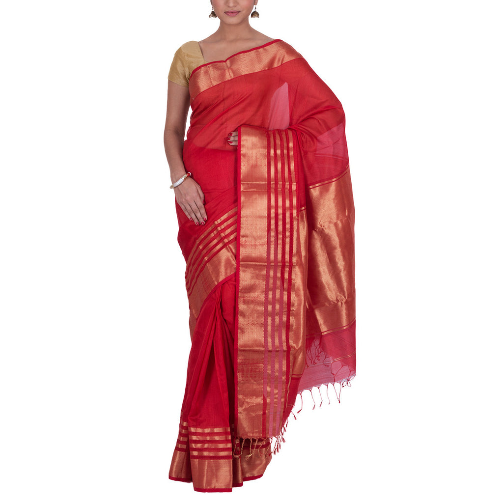Maheshwari Handloom Cotton Silk Saree with Blouse 17