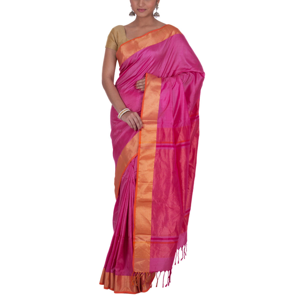 Maheshwari Handloom Silk Saree with Blouse 18