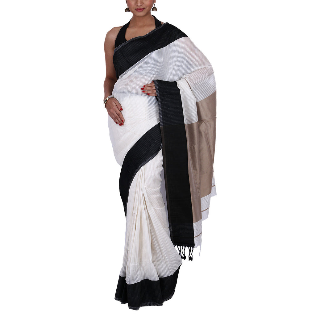 Maheshwari Handloom Cotton Silk Saree with Blouse 10