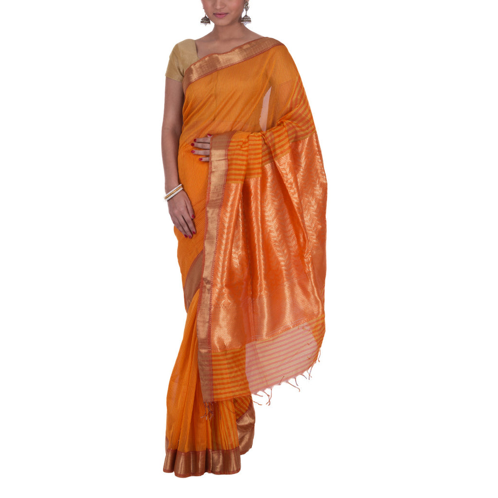 Maheshwari Handloom Cotton Silk Saree with Blouse 15
