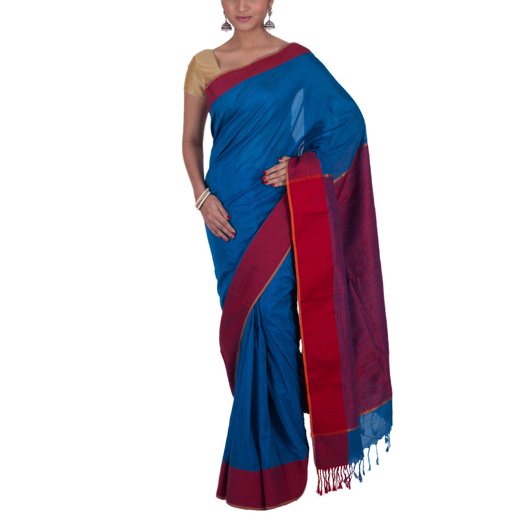 Maheshwari Handloom Cotton Silk Saree with Blouse 11